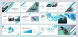 Business presentation templates. Set of vector infographic elements for presentation slides, annual report, business marketing, brochure, flyers, web design and banner, company presentation. - 143190835