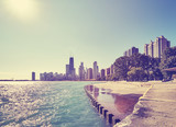 Color toned Chicago waterfront skyline on the early morning, against the sun photo, Illinois, USA.