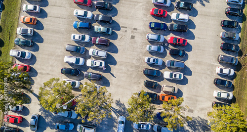 Overhead view of big car parking