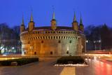 Barbican in Krakow in winter evening