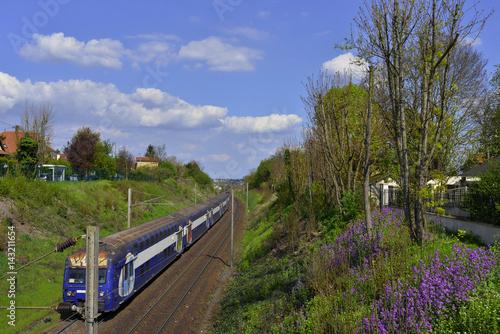 Train de banlieue dans les fleurs, Andrézy