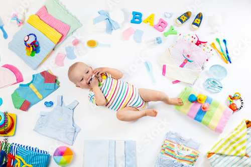 Poster Baby with clothing and infant care items