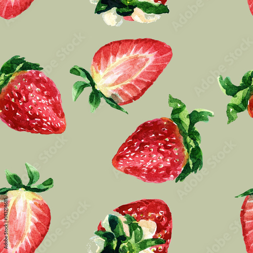 Tapeta ścienna na wymiar Watercolor seamless pattern of strawberries.