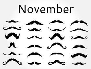Mustache november vector set.
