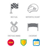 Race flag, checkpoint and motorcycle helmet icons. Winner award medal linear signs. Shield protection, calendar and new tag web icons. Vector