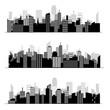 Black random city skyline Vector on white background. - 143221275