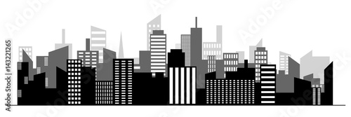 Black random city skyline Vector on white background. - 143221265