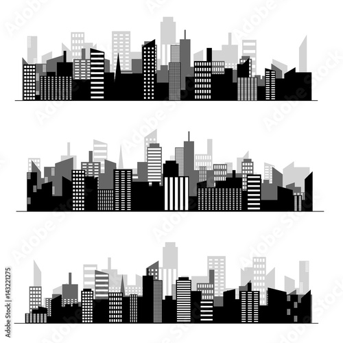 Black random city skyline Vector on white background. - 143221275