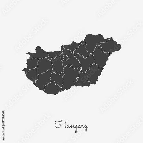 Hungary region map: grey outline on white background Poster