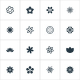Vector Illustration Set Of Simple Rose Icons. Elements Sword Lily, Crocus, Delphinium And Other Synonyms Flower, Bloom And Apple Blossom.