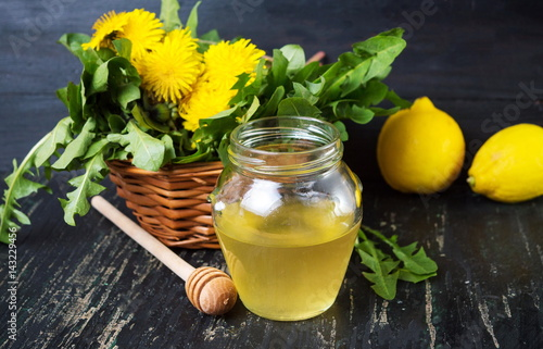 Honey with dandelion flowers and lemon Poster