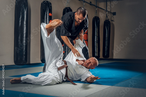 Two judo wrestlers showing their technical skills. Poster
