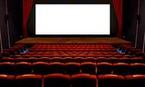 Theater hall with red seat and wide blank white screen - 143246660