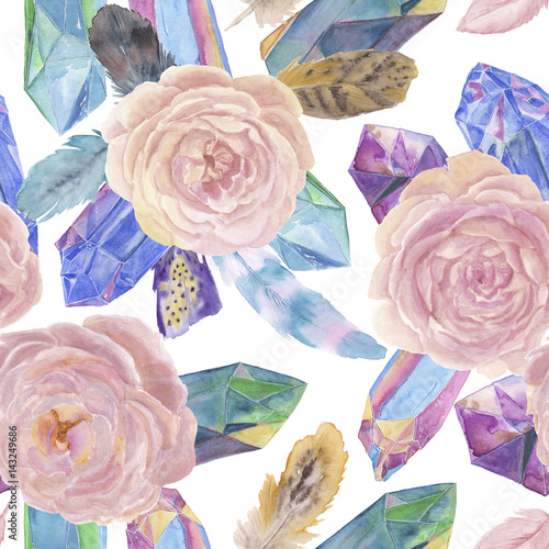 Watercolor painting seamless pattern with beautiful rose flowers, feather,crystals - 143249686
