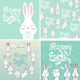 Fototapeta Happy Easter greeting card with bunny. Hand drawn lettering.
