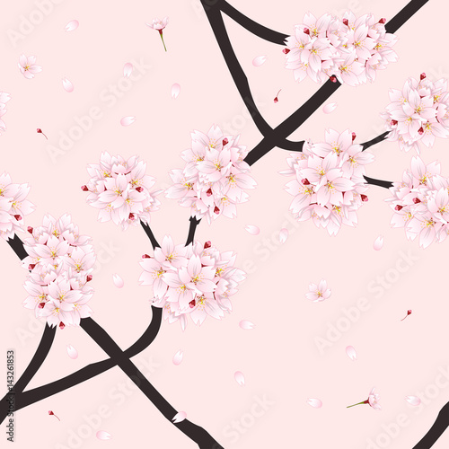 Stoffe zum Nähen Sakura-Kirsche Blüte Blume auf hellrosa Hintergrund