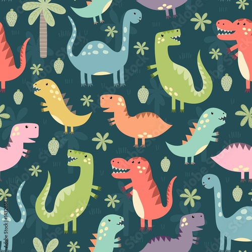 Cotton fabric Funny dinosaurs seamless pattern