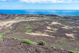Spain, Canary Islands, Fuerteventura, Isla de lobos. Views over the volcanic island of