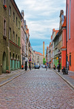 Cobblestone street of the Old town of Poznan