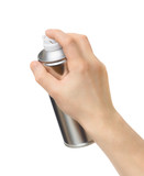 spray can in the male hand on white background - 143274079