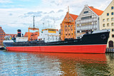 Old Ship at Quay of Motlawa River Gdansk