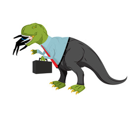 Bsinessman dinosaur eats competitor. Dino Boss eats manager. Chief with case is prehistoric dinosaur. Ancient lizard in suit. Business concept