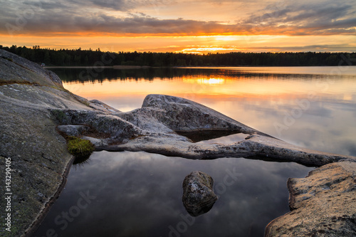 Keuken foto achterwand Stockholm Sunset in Swedish archipelago during summer