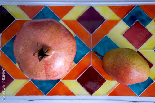 Still-life from fruit on stained glass - 143293067