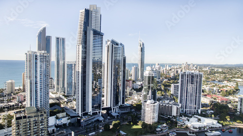 Surfers Paradise city centre's famous skyline viewed from above.