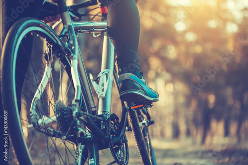 Poster cyclist riding mountain bike in the forest