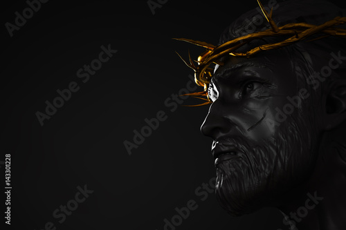 Poster Jesus Christ Statue with Gold Crown of Thorns 3D Rendering Side Angle Empty Spac