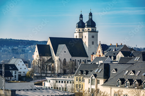 Leinwanddruck Bild St. John's Church in Plauen in the Vogtland