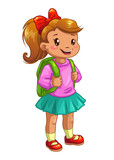 Little cute girl with knapsack.