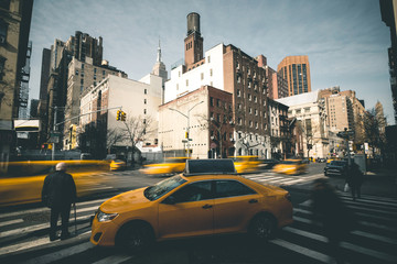 Taxis and People in the Traffic - New York