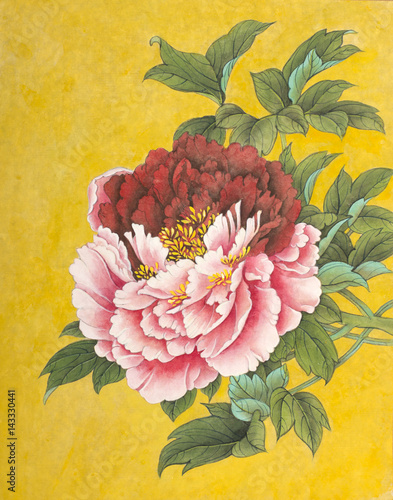 Two-colored peony on a gold background - 143330441