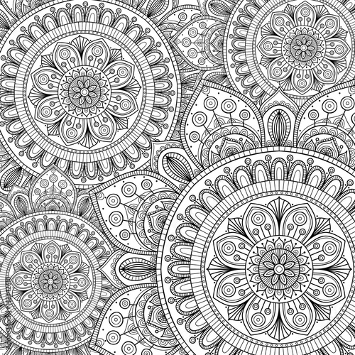 Doodle pattern with ethnic mandala ornament. Black and white illustration. Outline. Coloring page for coloring book.
