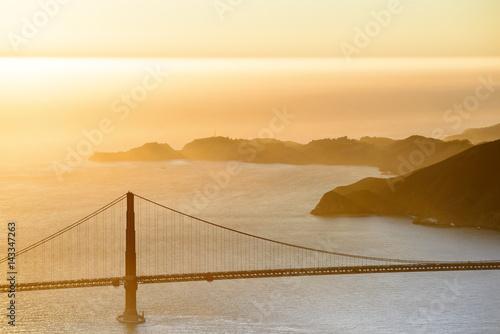 Golden Gate Bridge at Sunset Aerial Poster