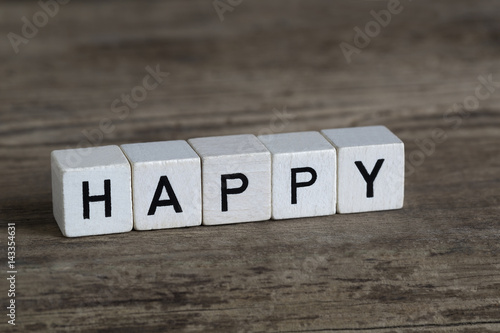 Happy, written in cubes Poster