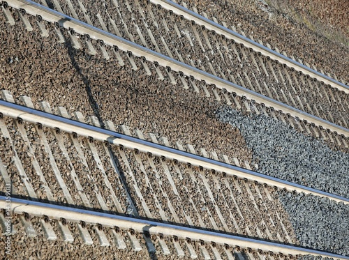 Train tracks background with iron rails Poster