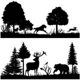 Wild animals silhouettes in green fir forest vector illustration