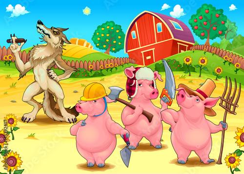 Fotobehang Boerderij Three little pigs and bad wolf.