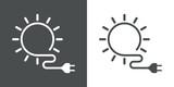 Icono plano energia solar gris y blanco - 143408211
