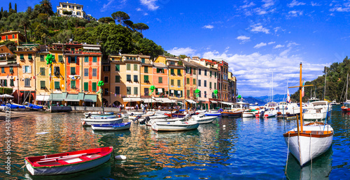 Foto op Canvas Liguria Beautiful colorful towns of Italy - luxury Portofino in Liguria