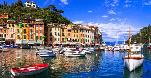 Fotobehang Liguria Beautiful colorful towns of Italy - luxury Portofino in Liguria