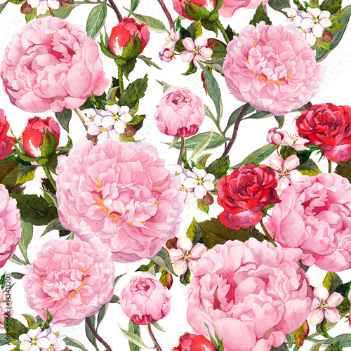 Peony flowers, red roses and sakura. Seamless floral background. Watercolor - 143413200