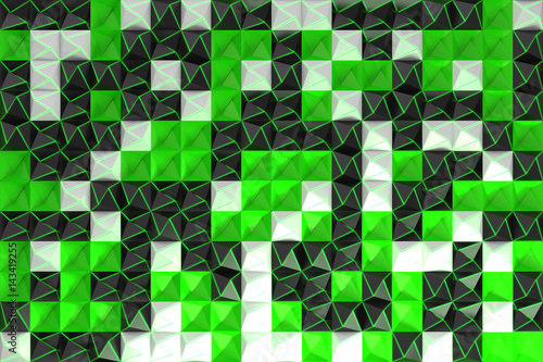 Pattern of black, white and green pyramid shapes