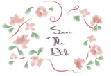 Watercolor flowers greeting card with save the date