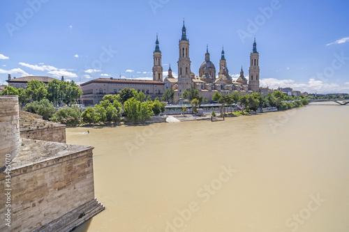 Ebro river, basilica El Pilar, stone bridge, Zaragoza, Spain.