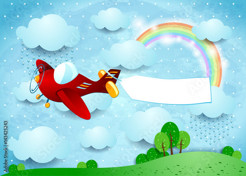 Spoed canvasdoek 2cm dik Lichtblauw Surreal landscape with airplane, banner and rain