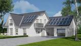 Solaranlage auf Haus mit Solarzellen auf Dach - 143430898